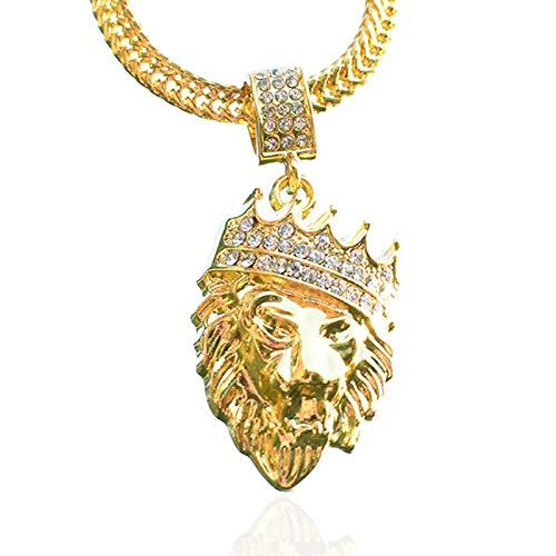 Collar De Hip Hop Con Cabeza De León Con Corona De Diamantes Europea Y Americana,Colgante DeHiphopChapado En Oro Unisex Para Hombre,Regalo Para Amigos