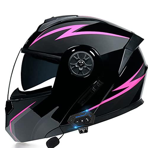 Motorcycle Modular Bluetooth Helmet Flip-Type Double Sun Visor Full Helmet DOT Certified Helmet for Adult Men and Women with 3 kinds of lens options Crash Helmet,Pink b,XL 61~62cm