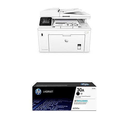 HP LaserJet Pro M227fdw - Impresora láser (A4, Wi-Fi, mono), color blanco + Toner CF230A