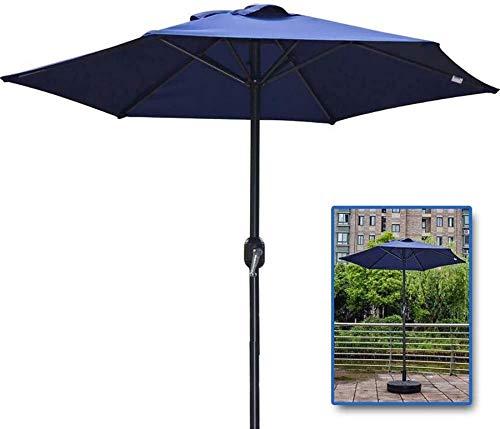 Jardín Sombrillas Paraguas Mercado 6 pies Sombrilla con manivela de hierro 6 costillas, Mesa de paraguas al aire libre for la playa, jardín, patio (Color: Marrón) (Color: Beige) FACAI ( Color : Blue )