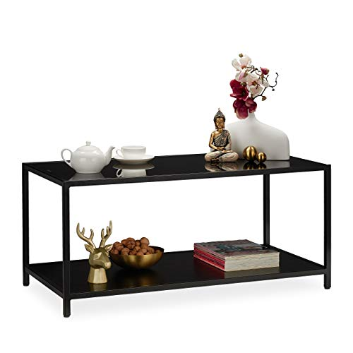 Relaxdays glazen salontafel, salontafel voor woonkamer, 2 planken in metalen frame, h x b x d: ca. 45 x 100 x 50 cm, zwart, metaal, MDF-platen.