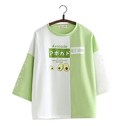 Vdual Japonés Muchachas Fresa Aguacate Delicioso Color Bloquear Camiseta