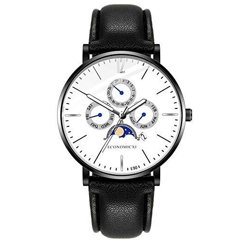 Yivise Hombres Single Calendar Casual Reloj de Cuero con Cor