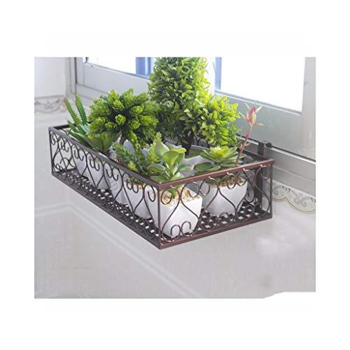 KDLMB Flower stand kleine smeedijzeren vensterbank balkon opknoping reling pot rack plantenstandaard (vierkant type)