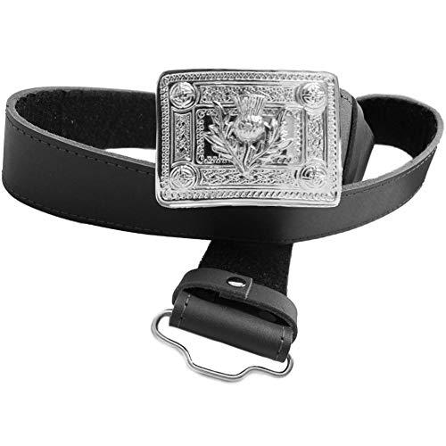 Black Leather Kilt Belt & Thistle Buckle - XL 45' - 50' (114-127cm)