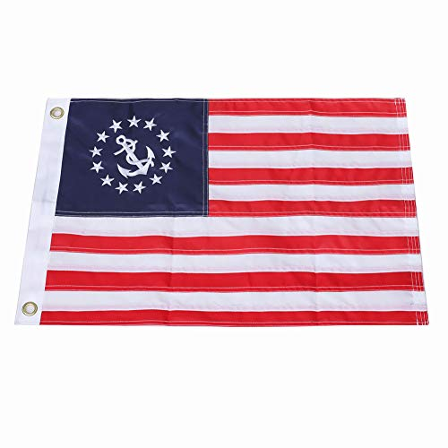 Yafeco Yacht Ensign Sewn Boat Flag, 12 x 18 inch Boat Ensign Nautical US American Flag Fully with Sewn Stripes, Embroidered Stars and Brass Grommets