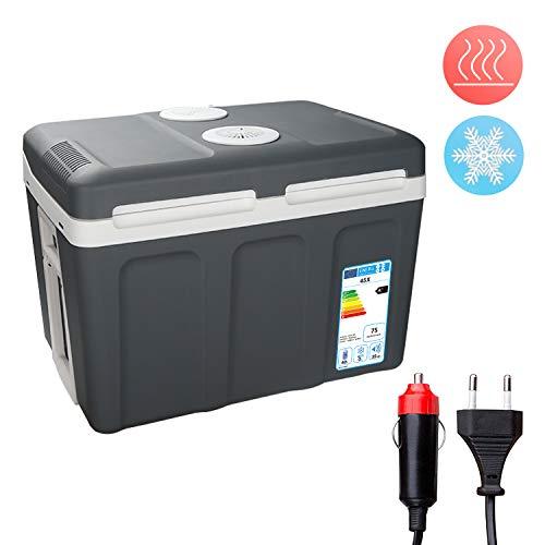 Hengda Kühlbox tragbare 40 Liter, Thermo-Elektrische Kühlbox, WÄRMT und KÜHLT, Mini-Kühlschrank 12 Volt und 230 Volt, ECO-Modus, mit Rollen, für Auto, Innenraum, Camping