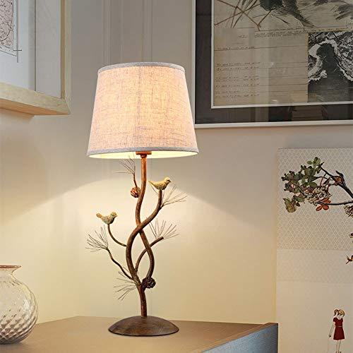 XZhstes Lámpara de mesita de noche de dormitorio con diseño retro de Nordic Country con barras decorativas de hierro forjado, lámpara LED E14 (30 x 70 cm)