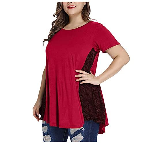 VEMOW Blusas y Camisas Tallas Grandes para Mujer Camiseta Manga Large/Manga Corta, Perspectiva Irregular de Color Sólido de Encaje Floral Casual Camiseta Verano Suelto Túnica T-Shirt(U05 Rojo,XL)