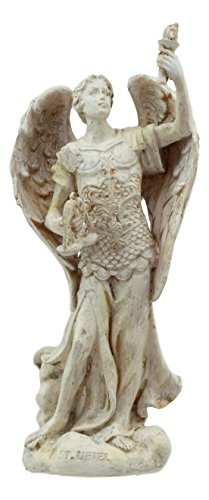 Ebros Ivory Finish Saint Uriel The Archangel Statue 5' Tall Light and Fire of God Patron of Confirmation Ecology Wisdom Repentance Collectible Figurine Cherubim