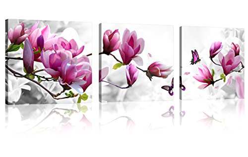 Price comparison product image Natural art Pink Flowers with Butterfly 3 Panels Stretched Canvas Wooden Framed Wall Art