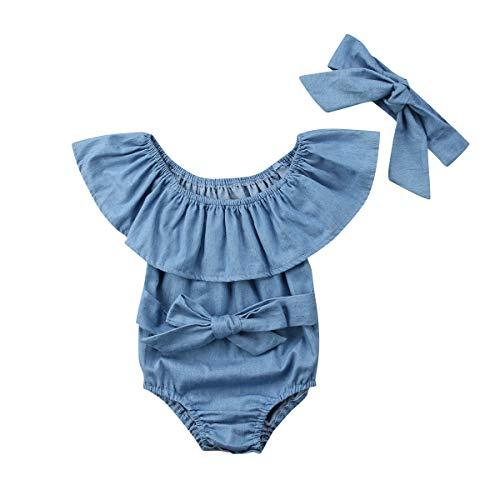 Newborn Kids Baby Girls Front Bowknot Bodysuit Romper Jumpsuit Outfits Set 0-24M (0-6 Months, Blue)