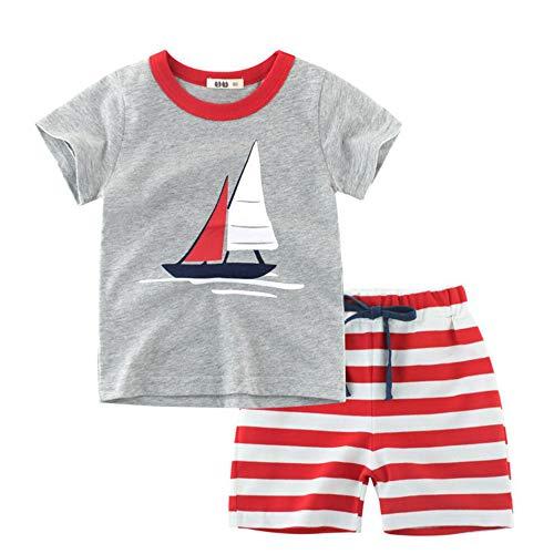 Bebé Niño Conjunto de Camisetas Manga Corta y Pantalones Cortos Verano Algodón Chicos Blusa Tops 2 Piezas
