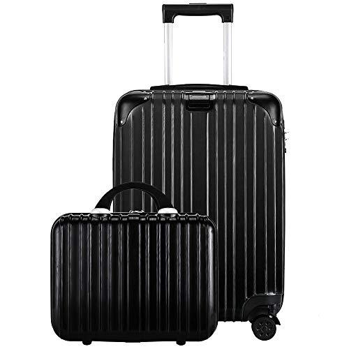 レーズ(Reezu) スーツケース 親子セット 化粧ケース キャリーケース 機内持込 ファスナー キャリーバッグ 超軽量 ジッパー 人気 ミニトランク TSAローク搭載 旅行出張 ブラック Black Mサイズ 約66L