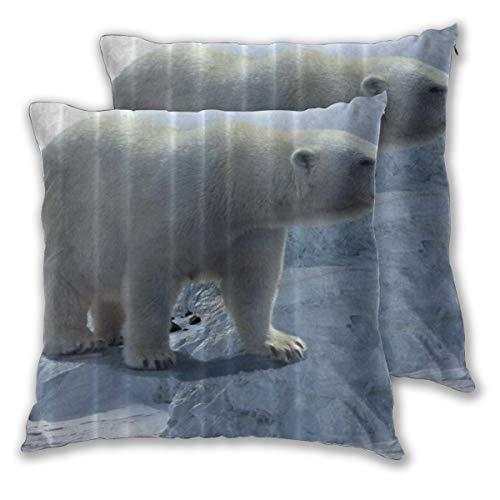 SAIAOS Arte Animal del Oso Polar Fundas para Cojines Decoracion de Salon 2 Piezas 65x65cm
