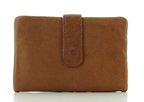 Prato Damen Portemonnaie Brieftasche Geldbörse Leder Cognac