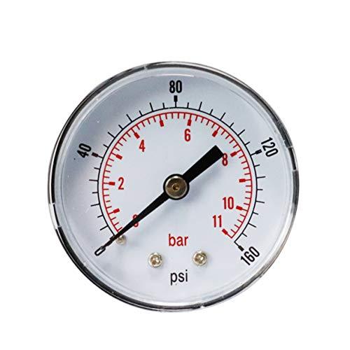 Timetided Manómetro de presión axial Y50 Manómetro de presión de Aceite de barómetro Manómetro de presión de Agua Manómetro de precisión - Negro - 160psi