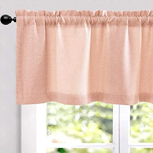 Cenefas rosadas para ventanas de lino texturizado oscurecimiento de la habitación para sala de estar, ventana, cortina, cortina,...