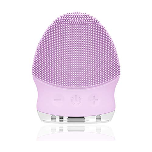 Silikon Gesichtsreinigungsbürste Elektrisch - 6mm Borsten, YUNCHI Y6 Gesichtsbürste mit gebogener Oberfläche, Wasserdichter Wiederaufladbare Sonic Vibration Gesichtsbürste (Purple)