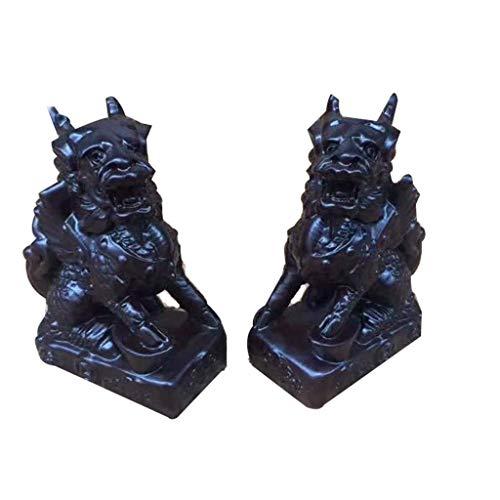 DCLINA Feng Shui - Un par estatuas Chinas Qilin/Chi Lin Kylin en Negro y ébano, Estatua hogar y Oficina Que atrae Riqueza y Buena Suerte, para Regalo Figura decoración Negocios