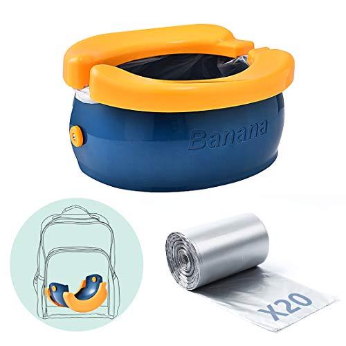 Vasino portatile e pieghevole per bambini -Sedili da allenamento vasino trasportare e da usare quando si viaggia all'aperto o allenamento con vasino,Con sacchetto di ricambio usa e getta(Blu+arancia)