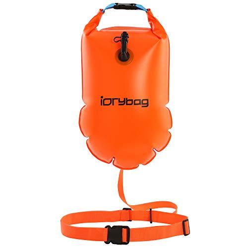 IDRYBAG Safety Swim Buoy Adult Tow Float 15L, Triathletes Open Water Swim Buoy Safe Training, Inflatable Float Swim Buoy for Floating, Kayaking, Swimming, Boating, Canoeing, Rafting, Surfing, Fishing