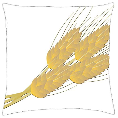 LESGAULEST Throw Pillow Cover (18x18 inch) - Wheat Bread Farm Thanksgiving Food Bakery Loaf