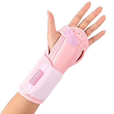Night Sleep Wrist Brace for Carpal Tunnel, Adjustable Wrist Pain Support for Men and Women- Fits Left & Right Hand - Wrist Sleep Support Stabilizer with Aluminum Splint for Injuries,Sprain (Pink)