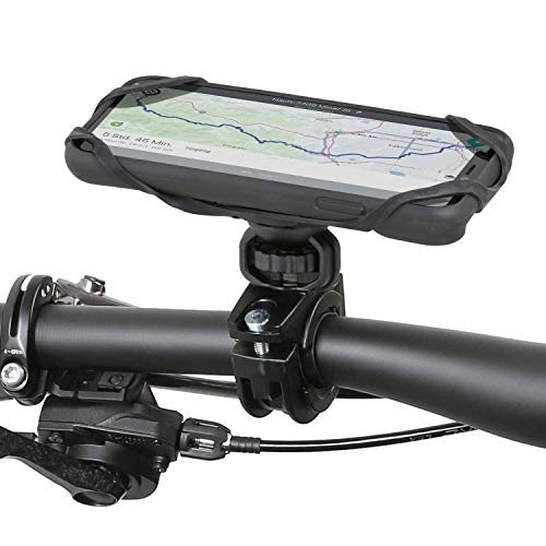 Wicked Chili QuickMOUNT uchwyt rowerowy kompatybilny z iPhone 11 (6,1 cala) – adapter na kierownicę roweru i motocykla + osłona zewnętrzna + taśma zabezpieczająca (360° – do kierownicy 22 – 32 mm) czarny