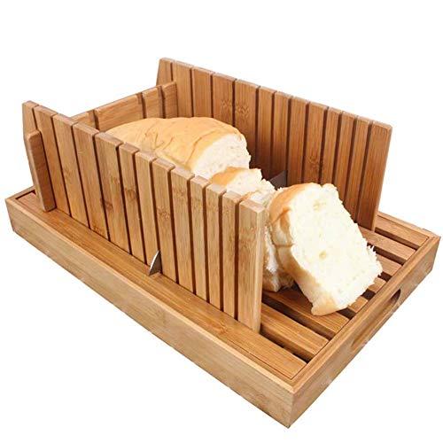 Broodsnijmachine Voor Brood, Zelfgemaakte Bamboe Natuur, Opvouwbare Dienblad Met Een Dikte Verstelbaar Voor Picks Kruimels Voor Zelfgebakken Brood En Gebak Brood, Wood