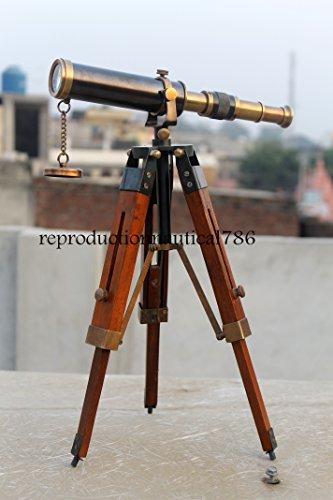 Telescopio náutico hecho a mano de dos toneladas de latón antiguo con trípode de madera, diseño vintage