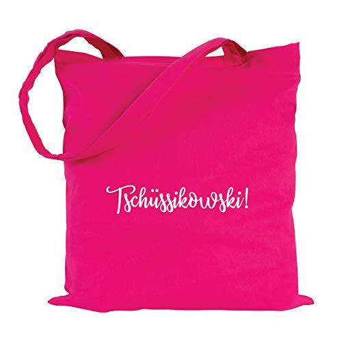 JUNIWORDS Jutebeutel, Wähle ein Motiv & Farbe, Tschüssikowski! (Beutel: Pink, Text: Weiß)
