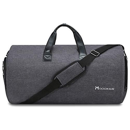 Convertible Garment Bag with Shoulder Strap, Modoker Carry on Garment Duffel Bag for Men Women - 2 in 1 Hanging Suitcase Suit Travel Bags (Black)