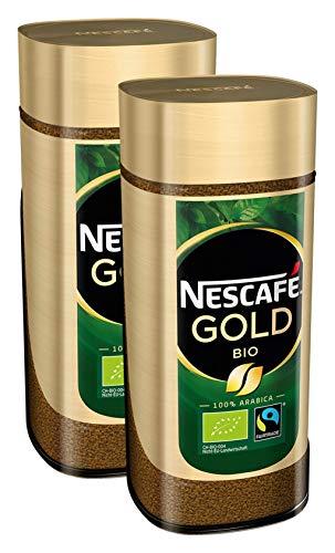 NESCAFÉ GOLD Bio, löslicher Bohnenkaffee aus 100% Arabica Kaffeebohnen, fair gehandelt, biologischer Anbau, koffeinhaltig, 2er Pack (2x100g)