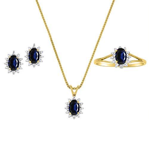 RYLOS レディース リング イヤリング ネックレス マッチングセット 楕円形の宝石と本物の輝くダイヤモンド付き 14Kイエローゴールドメッキ シルバー .925-6X4MM カラーストーン 18インチチェーン 誕生石ジュエリー