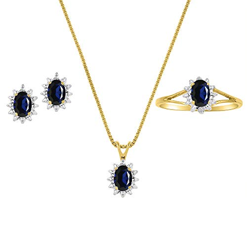 Juego de pendientes y anillo de zafiro natural y diamante en plata chapada en oro amarillo de 14 quilates con cadena y caja de regalo