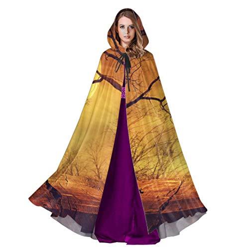 Yushg Zauberwald ist erschreckend in der Nacht Herren Mantel Kapuze Kapuzenmantel für Mädchen 59 Zoll für Weihnachten Halloween Cosplay Kostüme