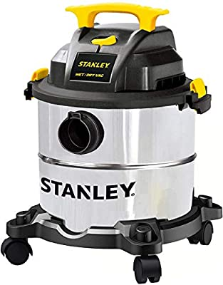 Stanley 5 Gallon Wet Dry Vacuum, 4 Peak HP Stainless Steel 3 in 1 Shop Vac Blower with Powerful Suction, Multifunctional Shop Vacuum W/ 4 Horsepower Motor for Job Site,Garage,Basement,Van,Workshop