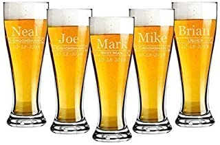Groomsmen 16 ounce Pilsner Pint Beer Glass Sets of 2 to 12 Custom Engraved including Choices of Design, Name, Title and Date