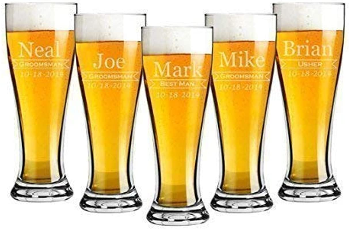 Groomsmen 16 Ounce Pilsner Pint Beer Glass Sets Of 2 To 12 Custom Engraved Including Choices Of Design Name Title And Date