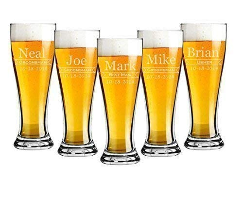 Groomsmen 16 ounce Pilsner Pint Beer Glass Sets of 2 to 12 Custom Engraved including Choices of Design and Text