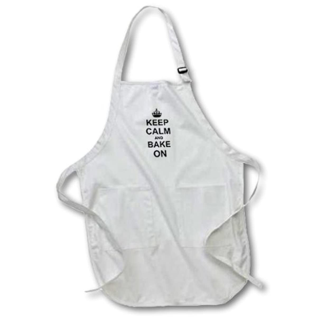 3dRose apr_157639_2 Keep Calm and Bake on Black Text Baking Fans Bakers Bakery Owners Medium Length Apron with Pouch Pockets, 22 by 24-Inch