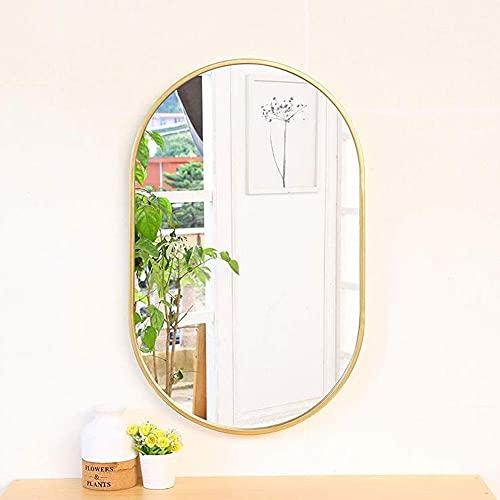 Espejo de pared Espejos de baño Espejo de maquillaje ovalado Espejo de tocador biselado Espejo de tocador de metal Espejo colgante de pared para sala de estar Dormitorio 316J (Color: Gold, Size: 40x60