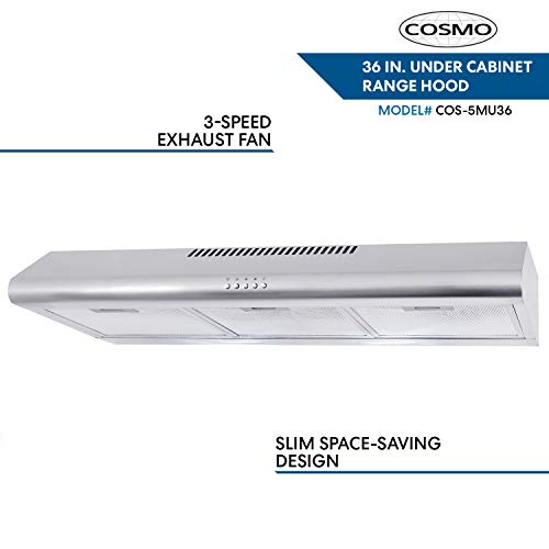 Cosmo COS-5MU36 36 in. Under Cabinet Range Hood Ductless Convertible Duct in Stainless Steel