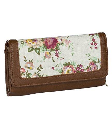 SIX Sommer, Damen Portemonnaie, Geldbörse, mit Blumenmuster und braun/rötlicher Lederoptik (703-292)