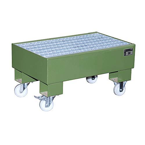 EUROKRAFTpro StahL-Auffangwanne für 60-L-Fass | fahrbar | LxBxH 800 x 500 x 415 mm | Lackiert grün RAL 6011 | mit Gitterrost