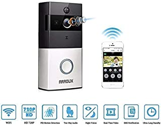 Smart WiFi Video Ring Doorbell, 720P HD Security Camera with Free 8G Storage, Real-Time Two-Way Talk/Video, Night Vision, PIR Motion Detection and App Control for iOS and Android (Satin and Black)