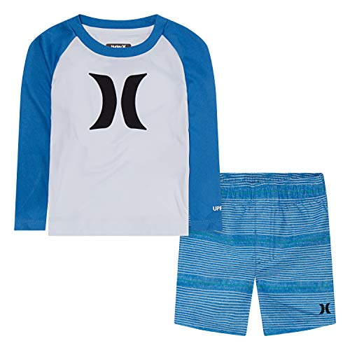 Hurley Baby Boy's Toddler Swim Suit 2-Piece Outfit Set, Fountain Blue, 2T