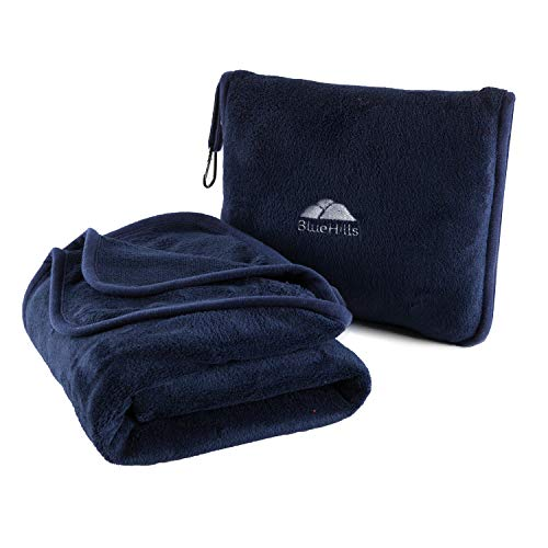 BlueHills Premium Soft Travel Blanket Pillow Airplane Blanket Packed in Soft Bag Pillowcase with Hand Luggage Belt and Backpack Clip, Compact Pack Large Blanket for Any Travel (Navy Blue T002)