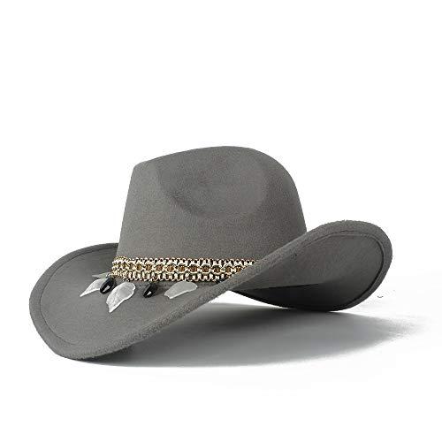 Calentar Neutral Hombres Mujeres Auténtico Western Cowboy Hat Invierno Sombrero al Aire Libre Lana Sombrero Cap Moda (Color : Light Gray, Size : 56-58)